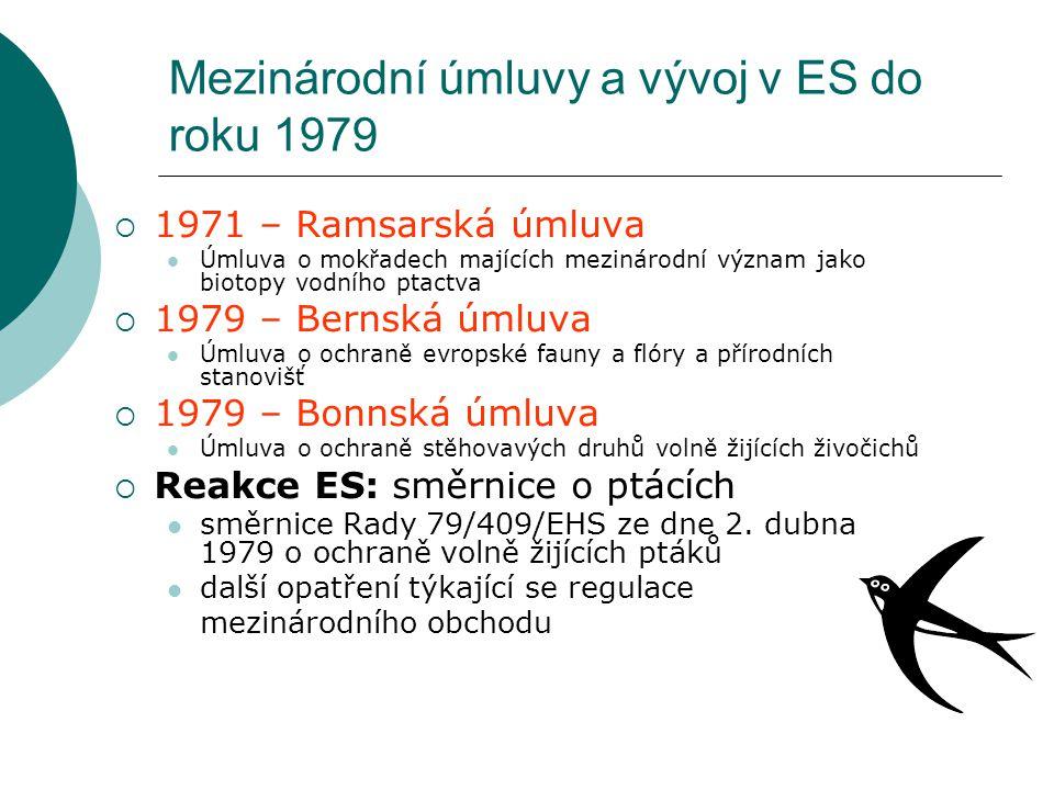 Směrnice o ptácích Směrnice Rady 79/409/EHS o ochraně volně žijících ptáků  vůbec první komunitární opatření v oblasti OCHP  ochrana ptáků přirozeně se vyskytujících na území MS  komplexní ochrana: všechna vývojová stádia + vejce, hnízda i stanoviště  ptačí oblasti (SPA = Special Protection Areas) pro 194 nejvíce ohrožených druhů