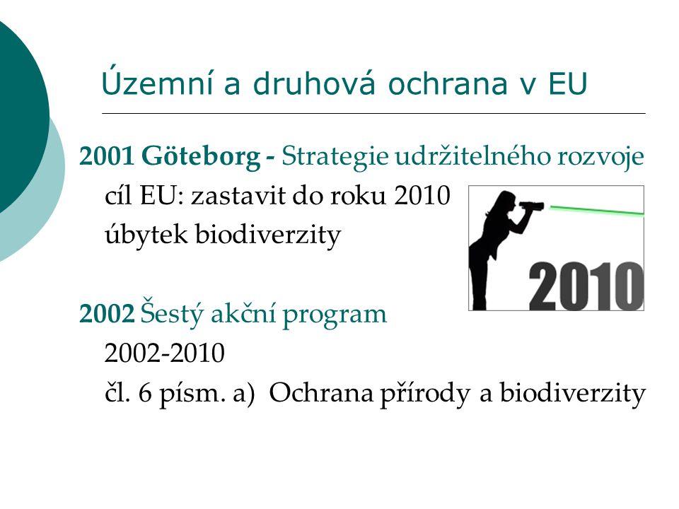 Územní a druhová ochrana v EU 2001 Göteborg - Strategie udržitelného rozvoje cíl EU: zastavit do roku 2010 úbytek biodiverzity 2002 Šestý akční progra