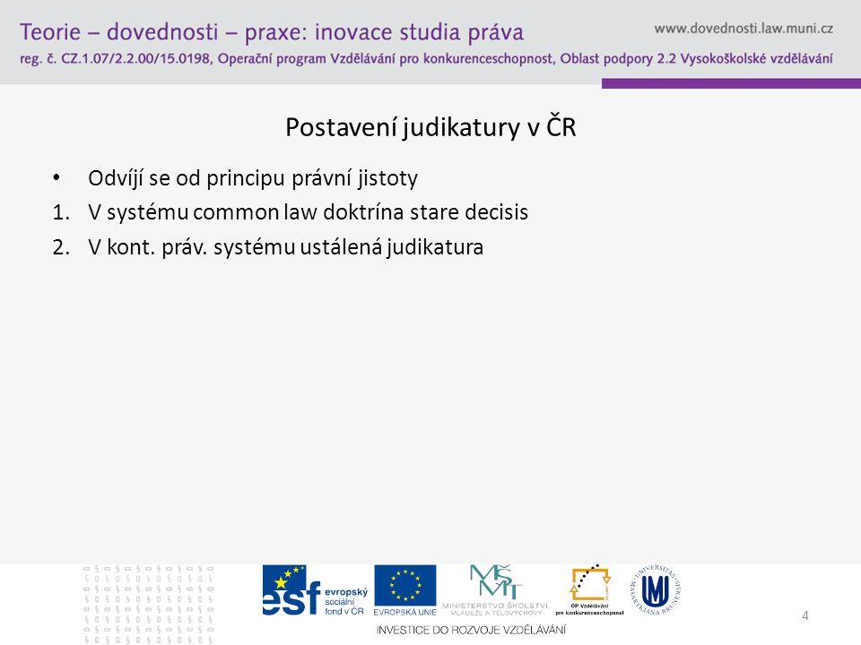 5 Postavení judikatury v ČR Závaznost judikatury -ÚS jako negativní zákonodárce -Závaznost při zrušení rozsudku vyšším soudem -Precedentní závaznost