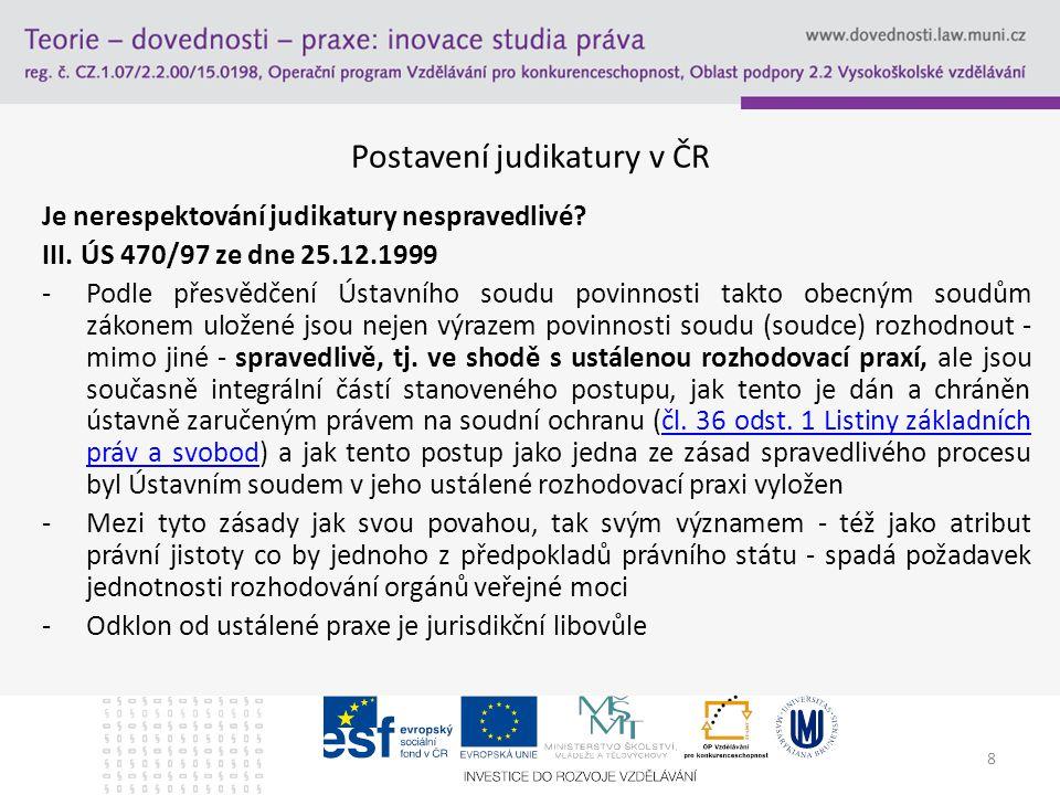8 Postavení judikatury v ČR Je nerespektování judikatury nespravedlivé? III. ÚS 470/97 ze dne 25.12.1999 -Podle přesvědčení Ústavního soudu povinnosti