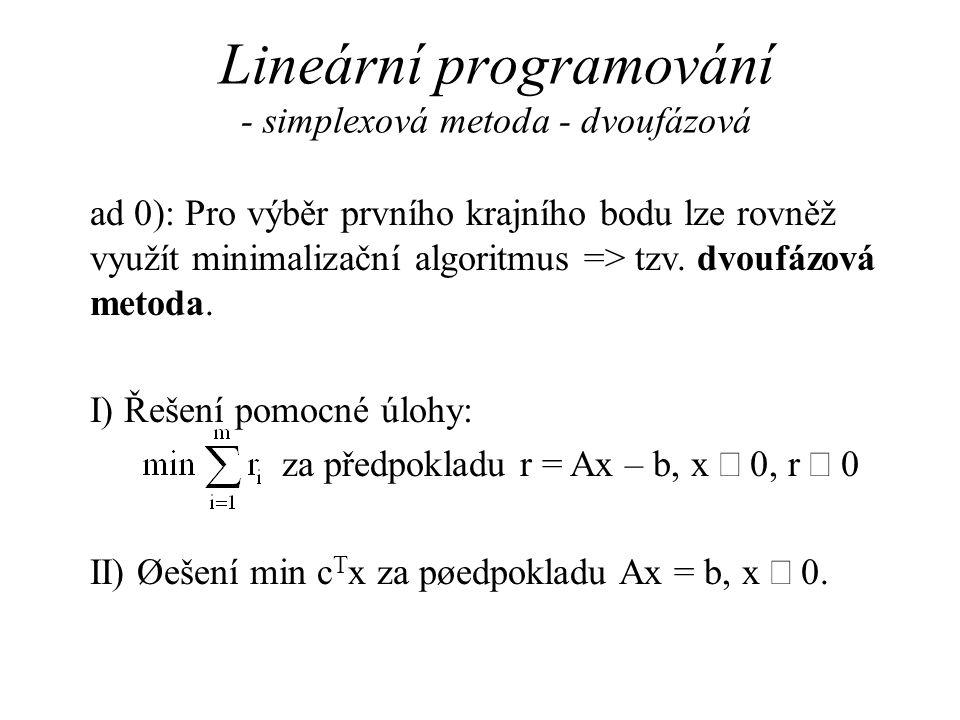 Lineární programování - simplexová metoda - dvoufázová ad 0): Pro výběr prvního krajního bodu lze rovněž využít minimalizační algoritmus => tzv.