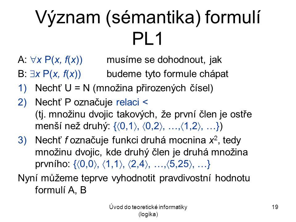 Úvod do teoretické informatiky (logika) 19 Význam (sémantika) formulí PL1 A:  x P(x, f(x))musíme se dohodnout, jak B:  x P(x, f(x))budeme tyto formu