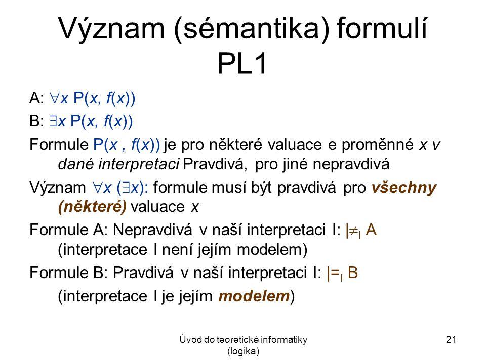 Úvod do teoretické informatiky (logika) 21 Význam (sémantika) formulí PL1 A:  x P(x, f(x)) B:  x P(x, f(x)) Formule P(x, f(x)) je pro některé valuac