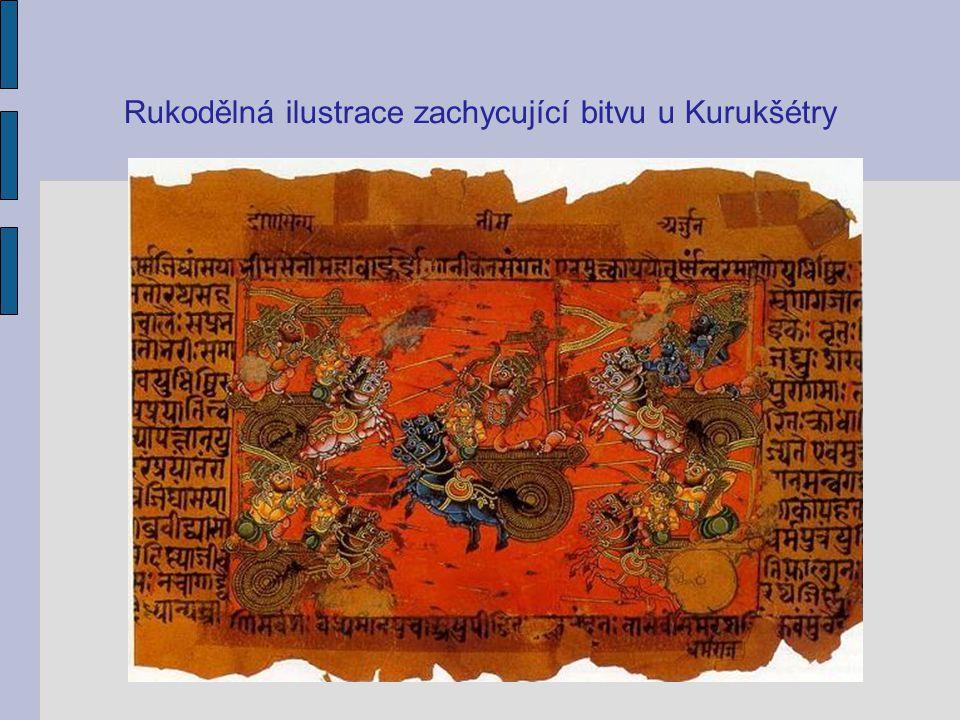 Rukodělná ilustrace zachycující bitvu u Kurukšétry