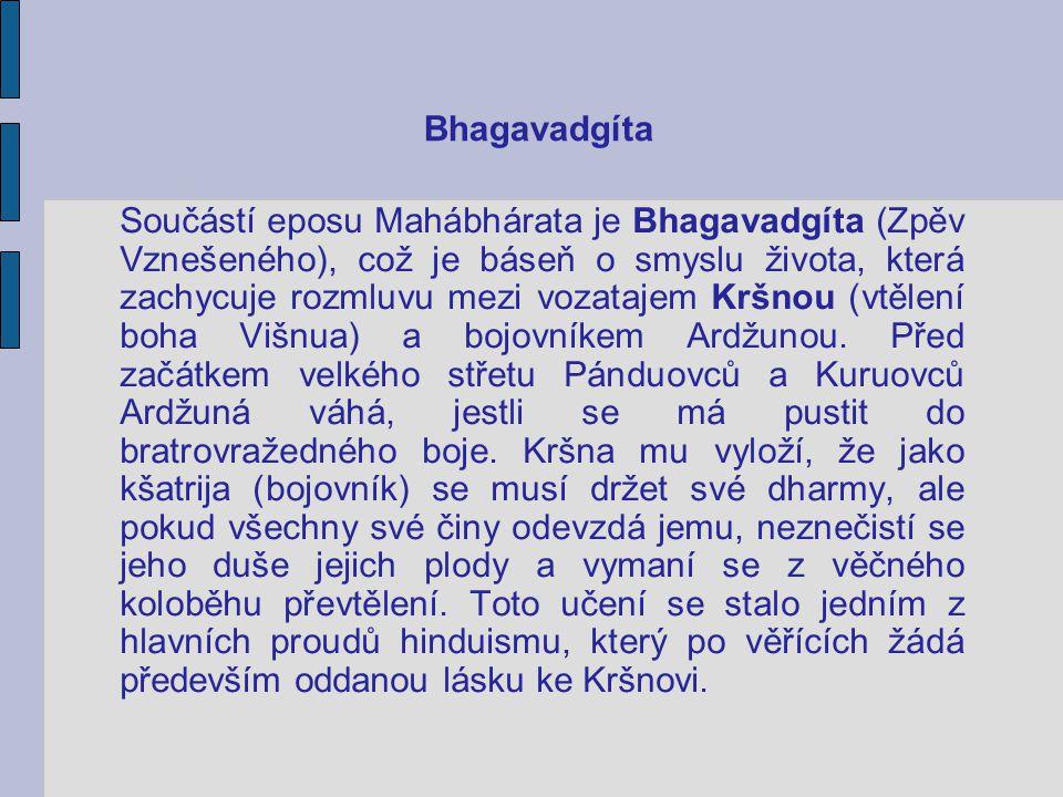 Bhagavadgíta Součástí eposu Mahábhárata je Bhagavadgíta (Zpěv Vznešeného), což je báseň o smyslu života, která zachycuje rozmluvu mezi vozatajem Kršno
