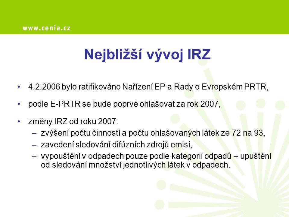 Nejbližší vývoj IRZ 4.2.2006 bylo ratifikováno Nařízení EP a Rady o Evropském PRTR, podle E-PRTR se bude poprvé ohlašovat za rok 2007, změny IRZ od ro