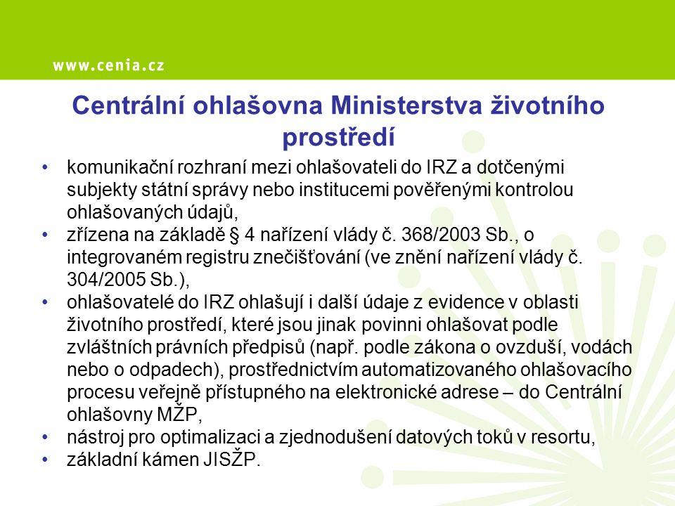 Centrální ohlašovna Ministerstva životního prostředí komunikační rozhraní mezi ohlašovateli do IRZ a dotčenými subjekty státní správy nebo institucemi
