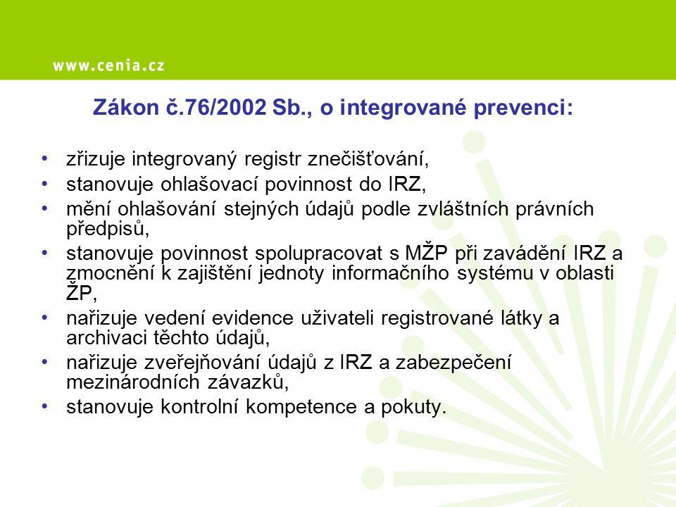 Zákon č.76/2002 Sb., o integrované prevenci: zřizuje integrovaný registr znečišťování, stanovuje ohlašovací povinnost do IRZ, mění ohlašování stejných