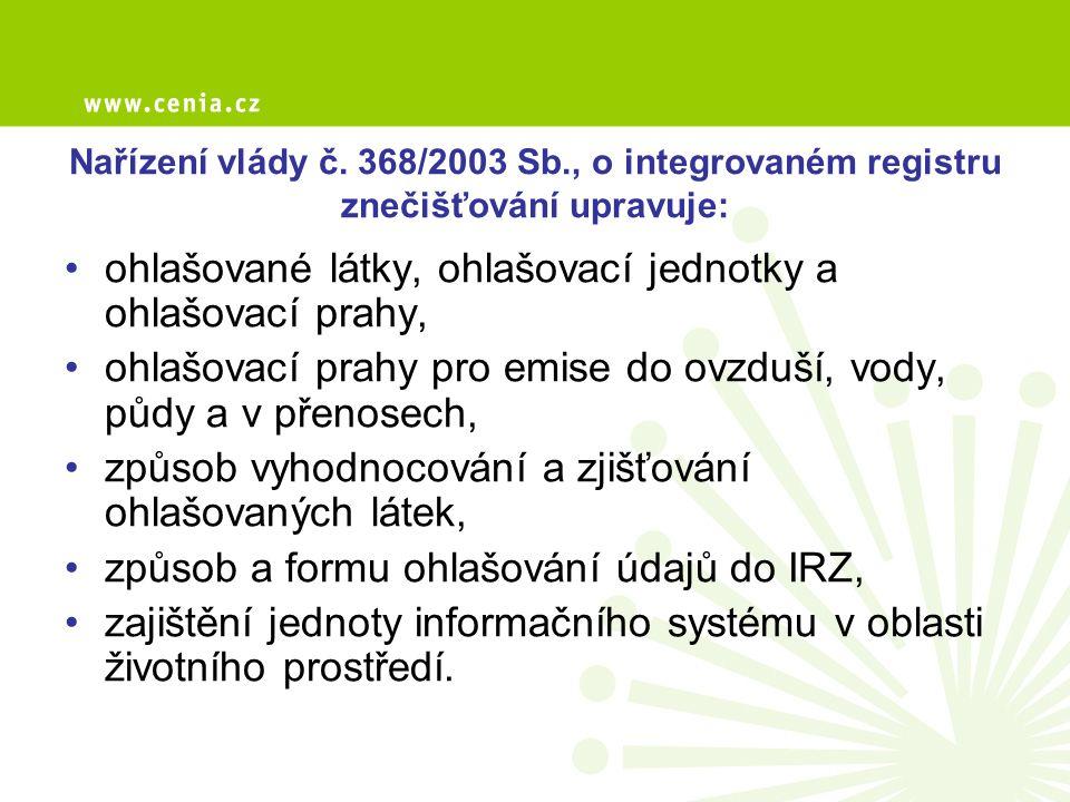 Nařízení vlády č. 368/2003 Sb., o integrovaném registru znečišťování upravuje: ohlašované látky, ohlašovací jednotky a ohlašovací prahy, ohlašovací pr