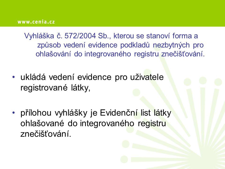 Vyhláška č. 572/2004 Sb., kterou se stanoví forma a způsob vedení evidence podkladů nezbytných pro ohlašování do integrovaného registru znečišťování.