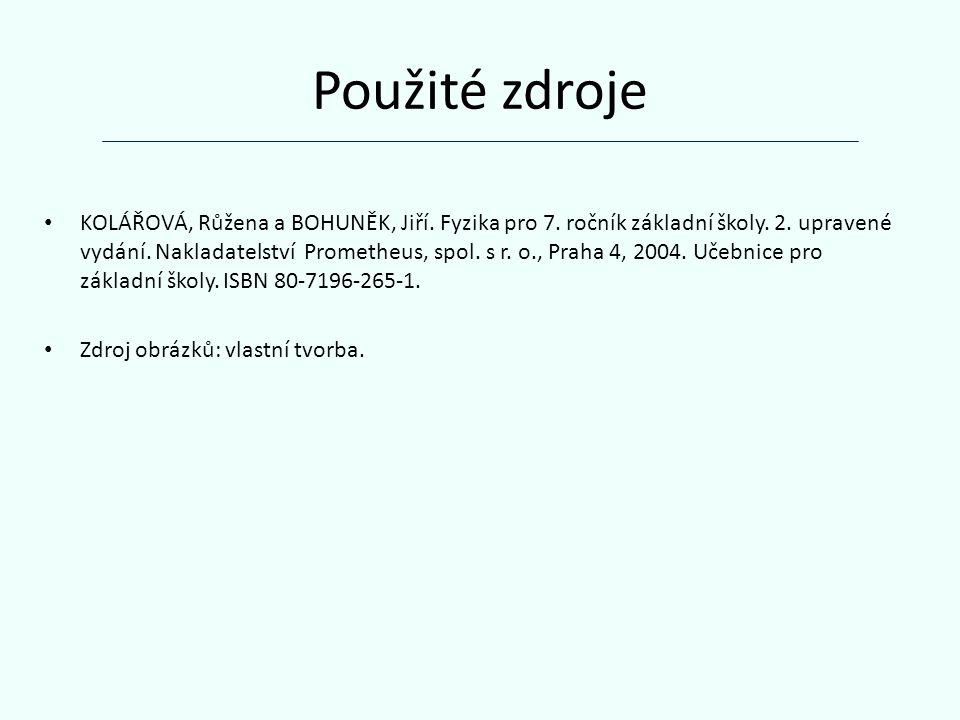 Použité zdroje KOLÁŘOVÁ, Růžena a BOHUNĚK, Jiří. Fyzika pro 7.