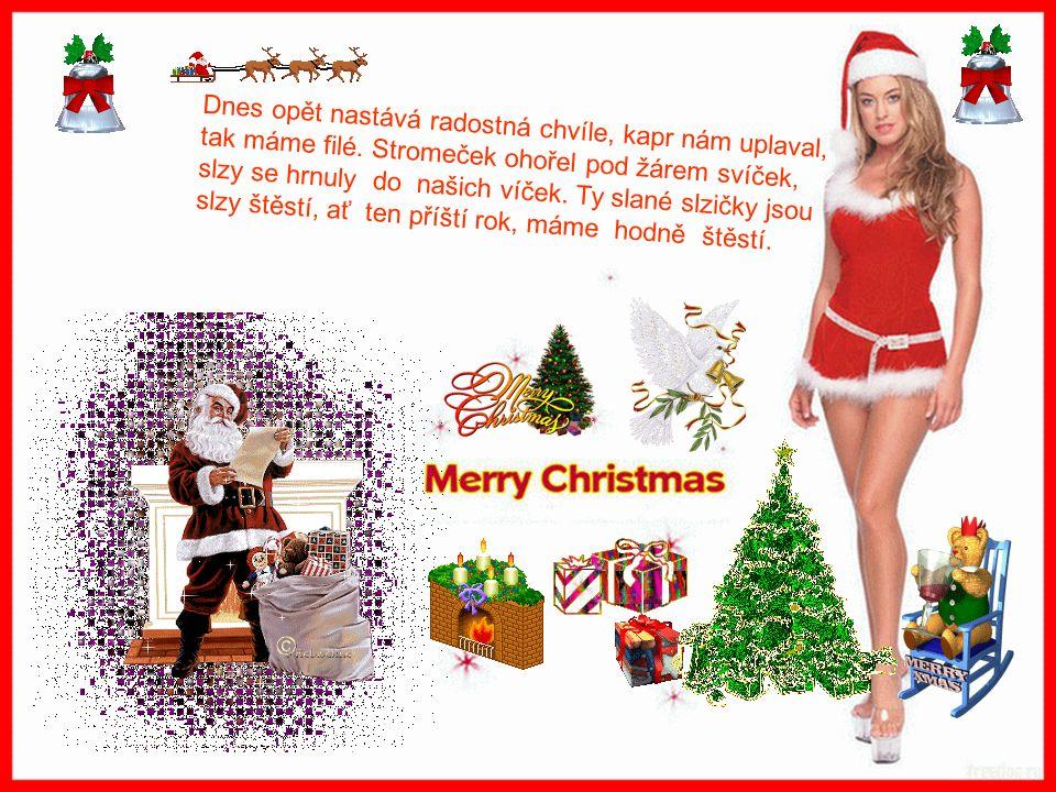 Ať stromeček krásně voní, ať tisíce zvonečků na Štědrý den zvoní, ať pocit štěstí a lásky hřeje, dárků plné závěje, ať Vám láska navěje.