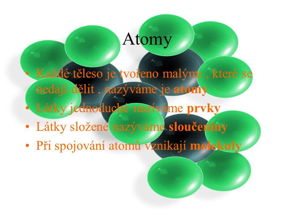 Atomy Každé těleso je tvořeno malými, které se nedají dělit, nazýváme je atomy Látky jednoduché nazíváme prvky Látky složené nazýváme sloučeniny Při spojování atomů vznikají molekuly