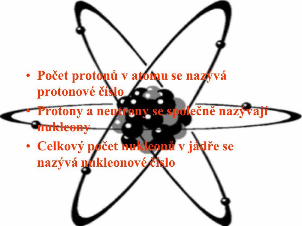 Počet protonů v atomu se nazývá protonové číslo Protony a neutrony se společně nazývají nukleony Celkový počet nukleonů v jádře se nazývá nukleonové číslo