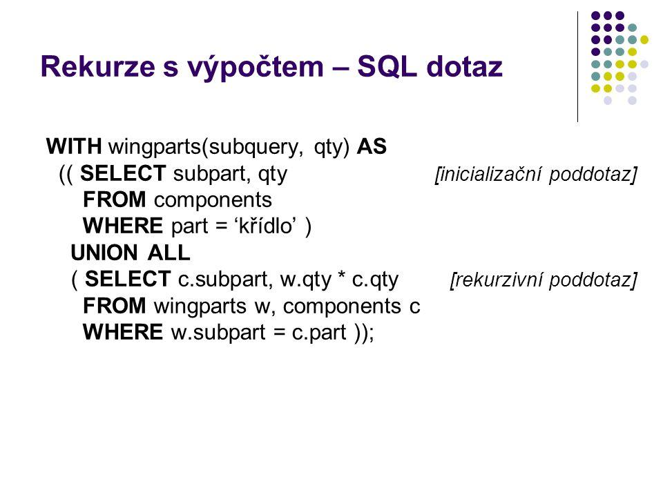 Rekurze s výpočtem – SQL dotaz WITH wingparts(subquery, qty) AS (( SELECT subpart, qty [inicializační poddotaz] FROM components WHERE part = 'křídlo'