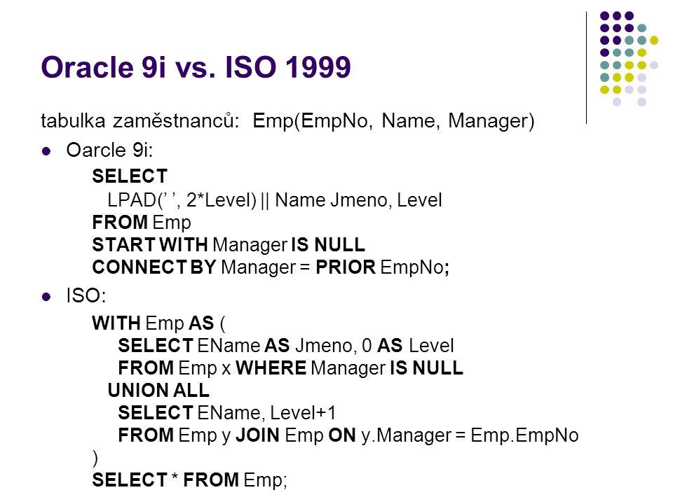 Oracle 9i vs. ISO 1999 tabulka zaměstnanců: Emp(EmpNo, Name, Manager) Oarcle 9i: SELECT LPAD(' ', 2*Level) || Name Jmeno, Level FROM Emp START WITH Ma