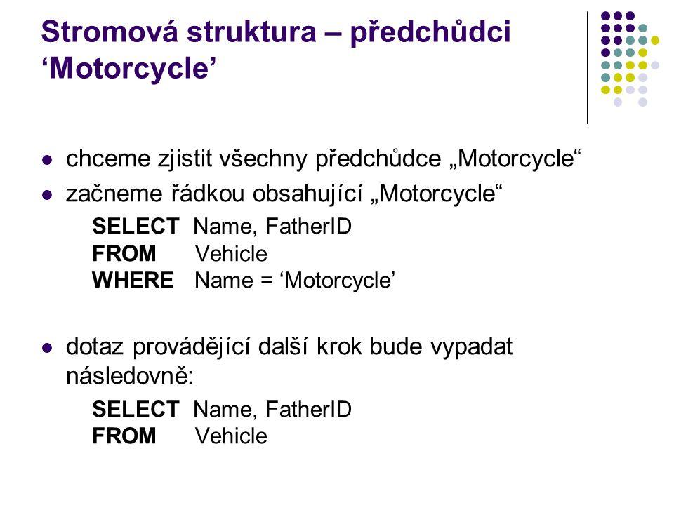 """Stromová struktura – předchůdci 'Motorcycle' chceme zjistit všechny předchůdce """"Motorcycle"""" začneme řádkou obsahující """"Motorcycle"""" SELECT Name, Father"""