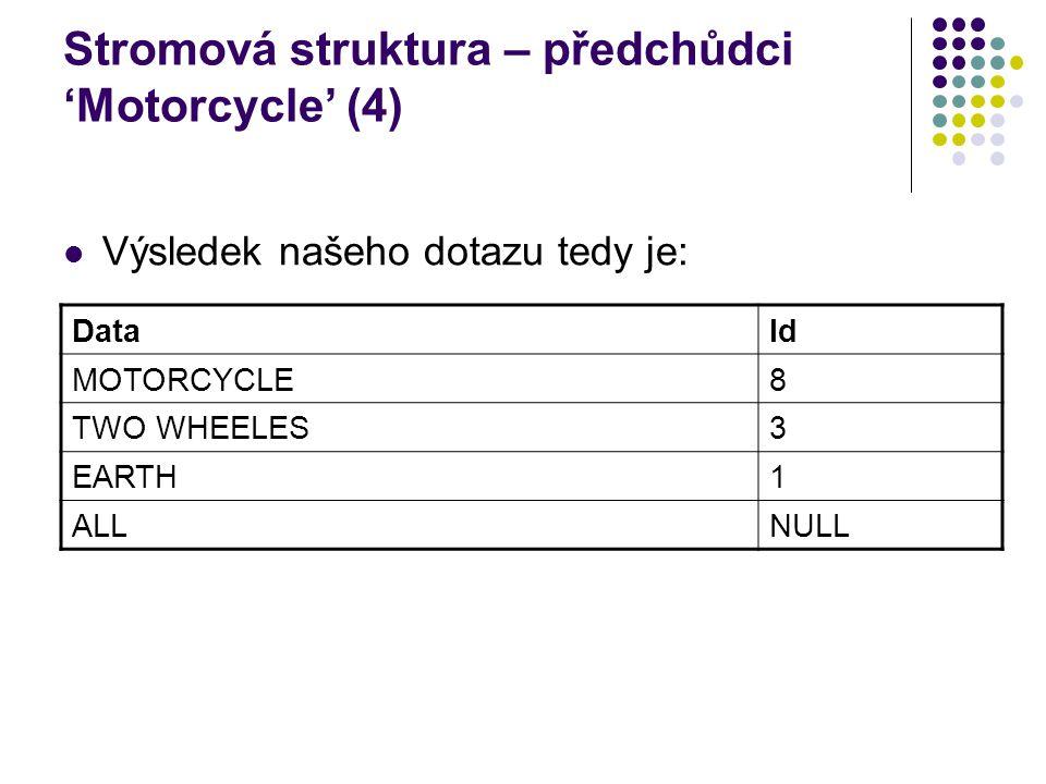 Stromová struktura – předchůdci 'Motorcycle' (4) Výsledek našeho dotazu tedy je: DataId MOTORCYCLE8 TWO WHEELES3 EARTH1 ALLNULL