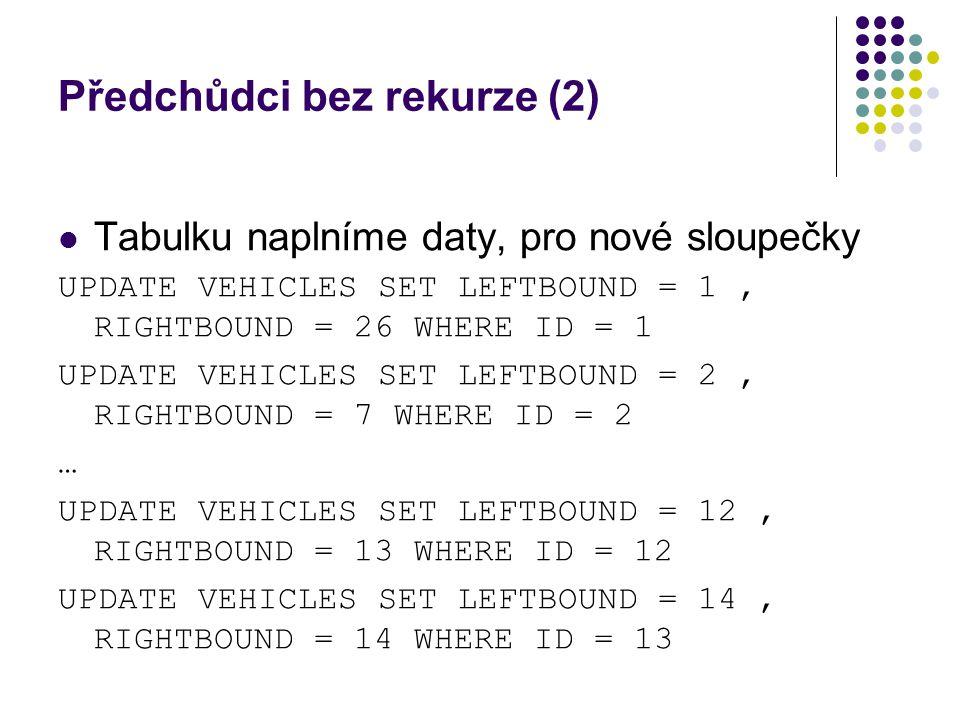 Předchůdci bez rekurze (2) Tabulku naplníme daty, pro nové sloupečky UPDATE VEHICLES SET LEFTBOUND = 1, RIGHTBOUND = 26 WHERE ID = 1 UPDATE VEHICLES S