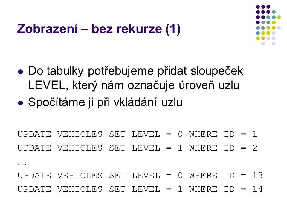 Zobrazení – bez rekurze (1) Do tabulky potřebujeme přidat sloupeček LEVEL, který nám označuje úroveň uzlu Spočítáme ji při vkládání uzlu UPDATE VEHICL