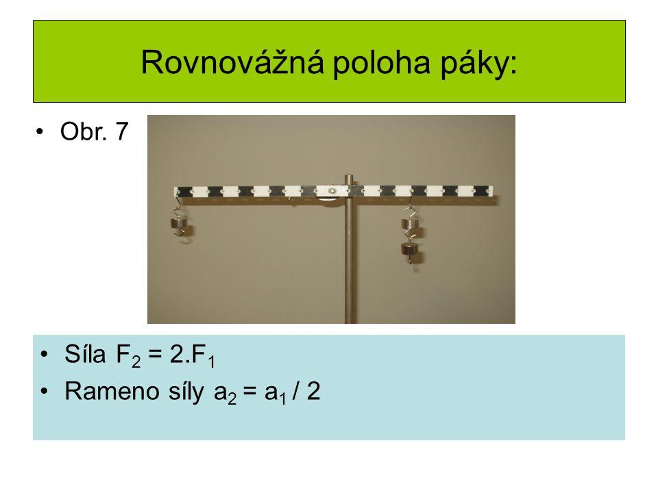 Rovnovážná poloha páky: Síla F 2 = 2.F 1 Rameno síly a 2 = a 1 / 2 Obr. 7