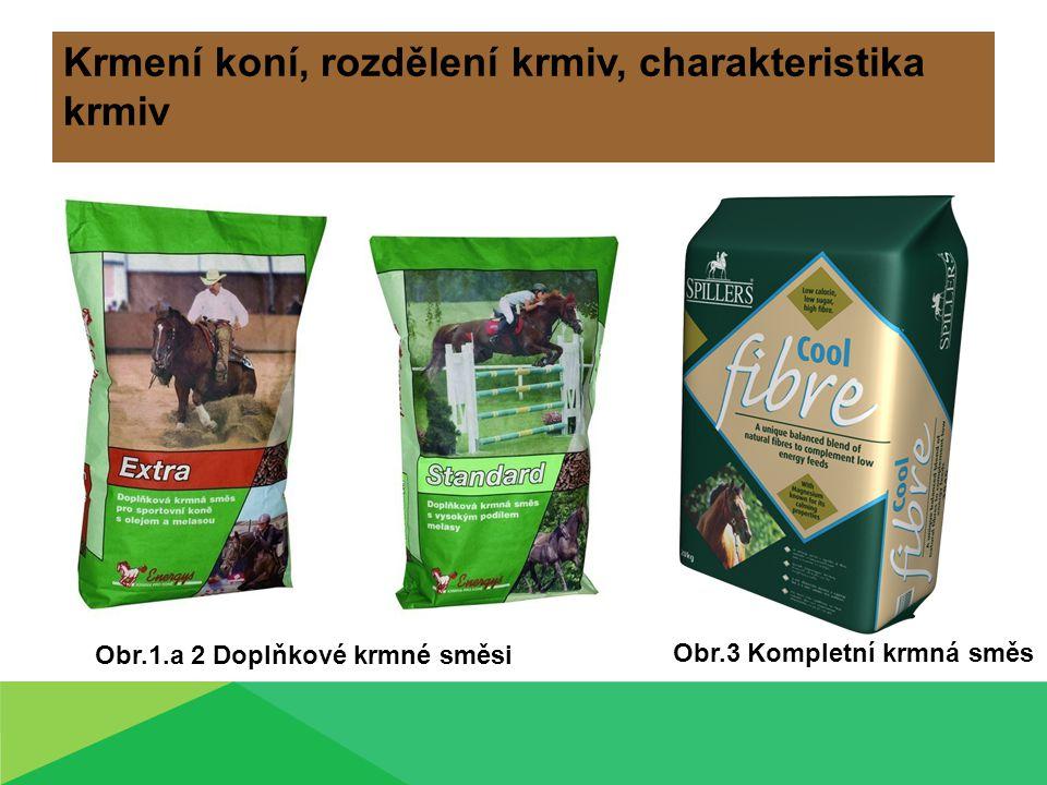 Krmení koní, rozdělení krmiv, charakteristika krmiv Obr.1.a 2 Doplňkové krmné směsi Obr.3 Kompletní krmná směs