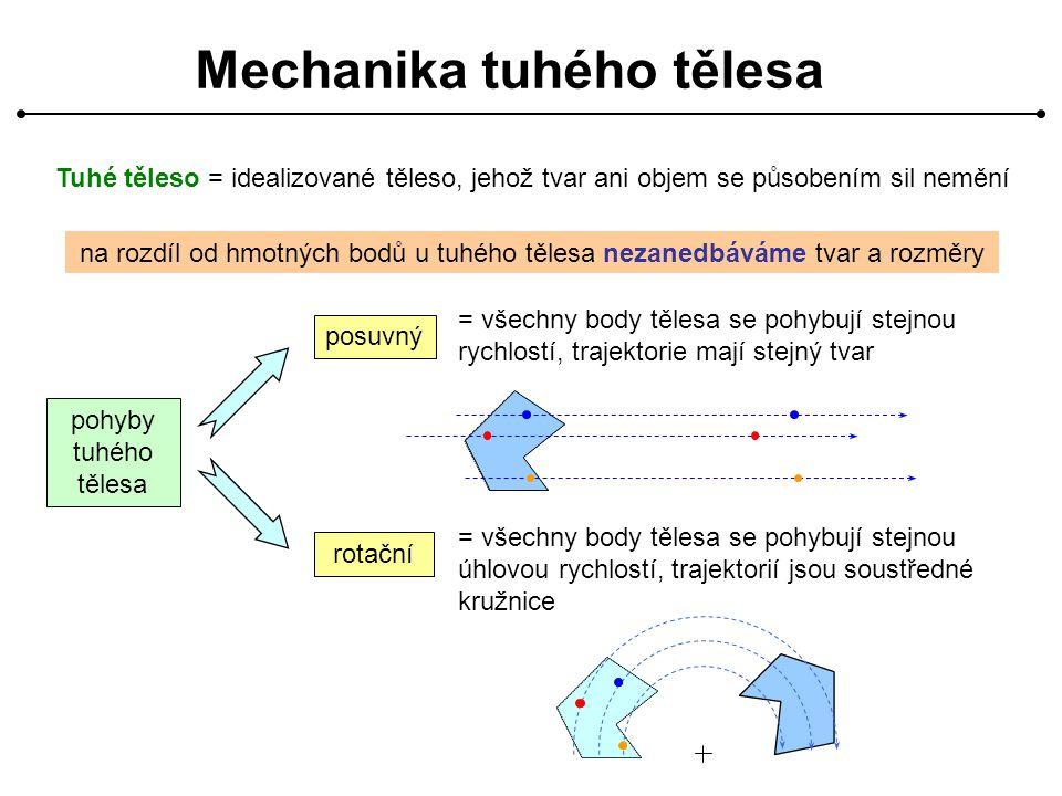 Mechanika tuhého tělesa Tuhé těleso = idealizované těleso, jehož tvar ani objem se působením sil nemění na rozdíl od hmotných bodů u tuhého tělesa nezanedbáváme tvar a rozměry pohyby tuhého tělesa posuvný rotační = všechny body tělesa se pohybují stejnou rychlostí, trajektorie mají stejný tvar = všechny body tělesa se pohybují stejnou úhlovou rychlostí, trajektorií jsou soustředné kružnice