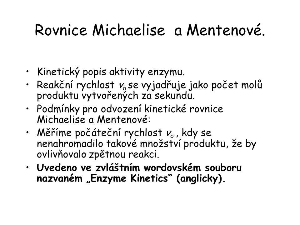 Rovnice Michaelise a Mentenové.Kinetický popis aktivity enzymu.
