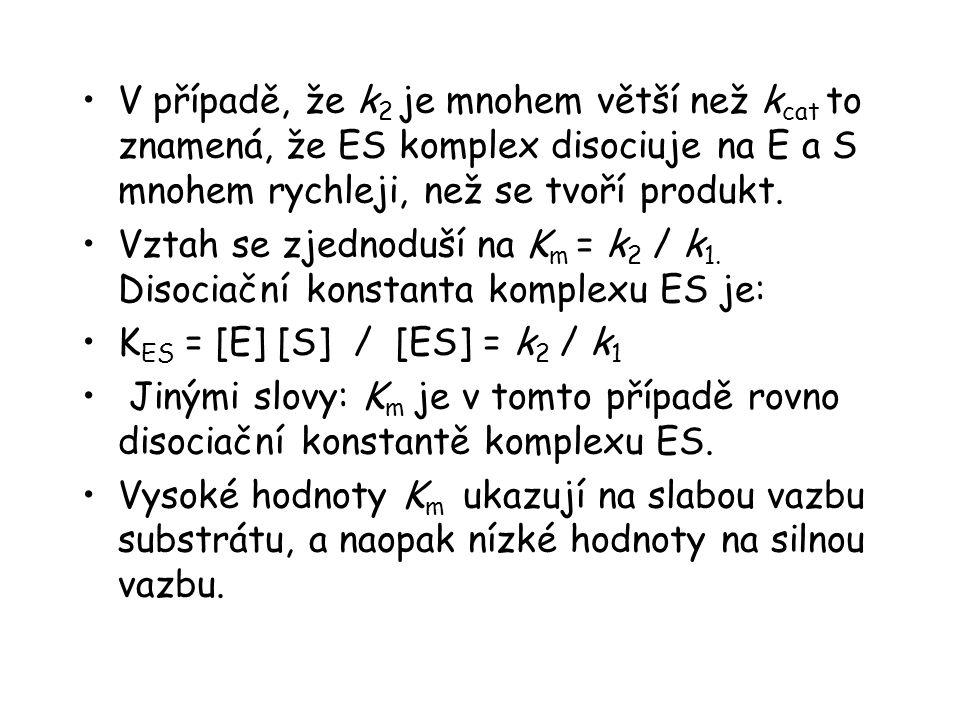 V případě, že k 2 je mnohem větší než k cat to znamená, že ES komplex disociuje na E a S mnohem rychleji, než se tvoří produkt.