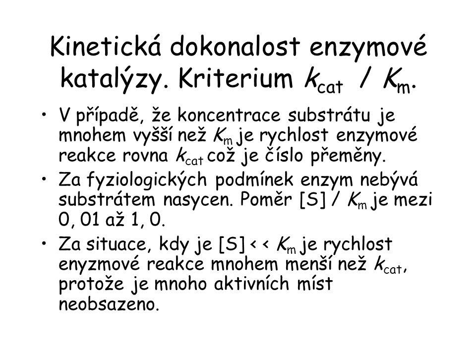 Kinetická dokonalost enzymové katalýzy. Kriterium k cat / K m. V případě, že koncentrace substrátu je mnohem vyšší než K m je rychlost enzymové reakce