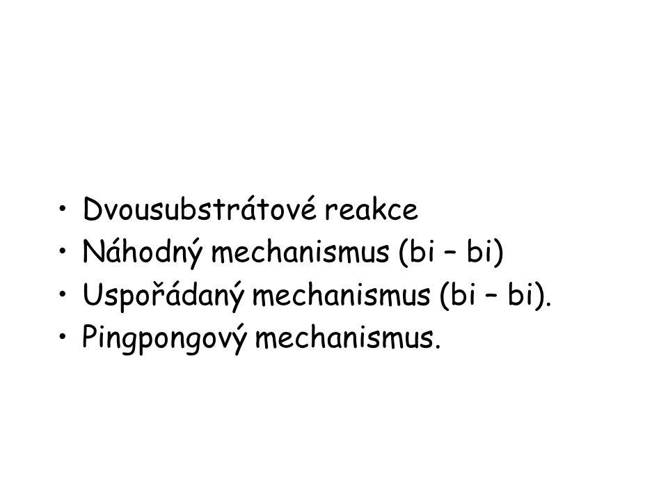 Dvousubstrátové reakce Náhodný mechanismus (bi – bi) Uspořádaný mechanismus (bi – bi). Pingpongový mechanismus.