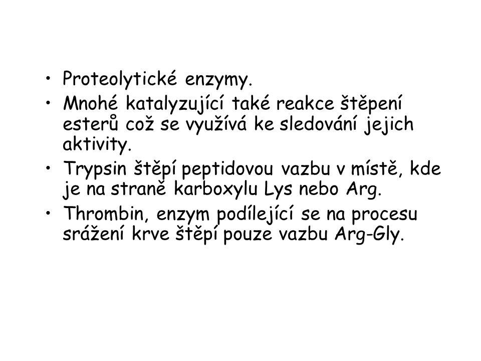 Proteolytické enzymy. Mnohé katalyzující také reakce štěpení esterů což se využívá ke sledování jejich aktivity. Trypsin štěpí peptidovou vazbu v míst