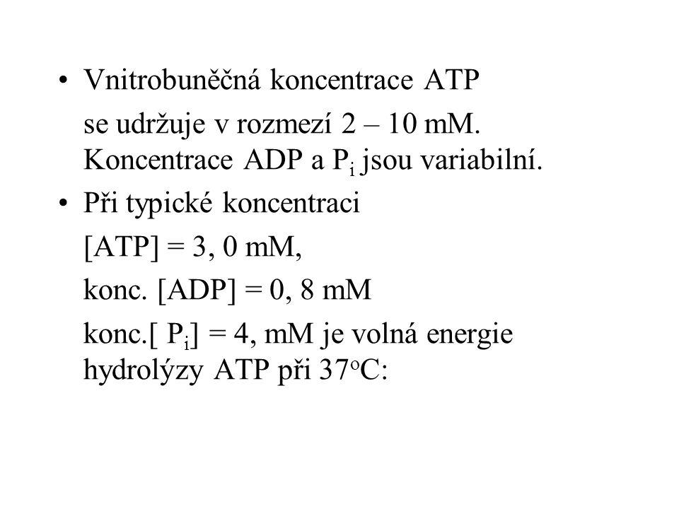 Vnitrobuněčná koncentrace ATP se udržuje v rozmezí 2 – 10 mM. Koncentrace ADP a P i jsou variabilní. Při typické koncentraci [ATP] = 3, 0 mM, konc. [A