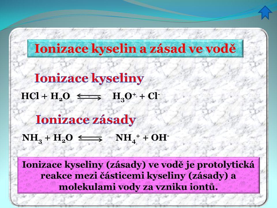 Ionizace kyselin a zásad ve vodě HCl + H 2 O H 3 O + + Cl - NH 3 + H 2 O NH 4 + + OH - Ionizace kyseliny (zásady) ve vodě je protolytická reakce mezi