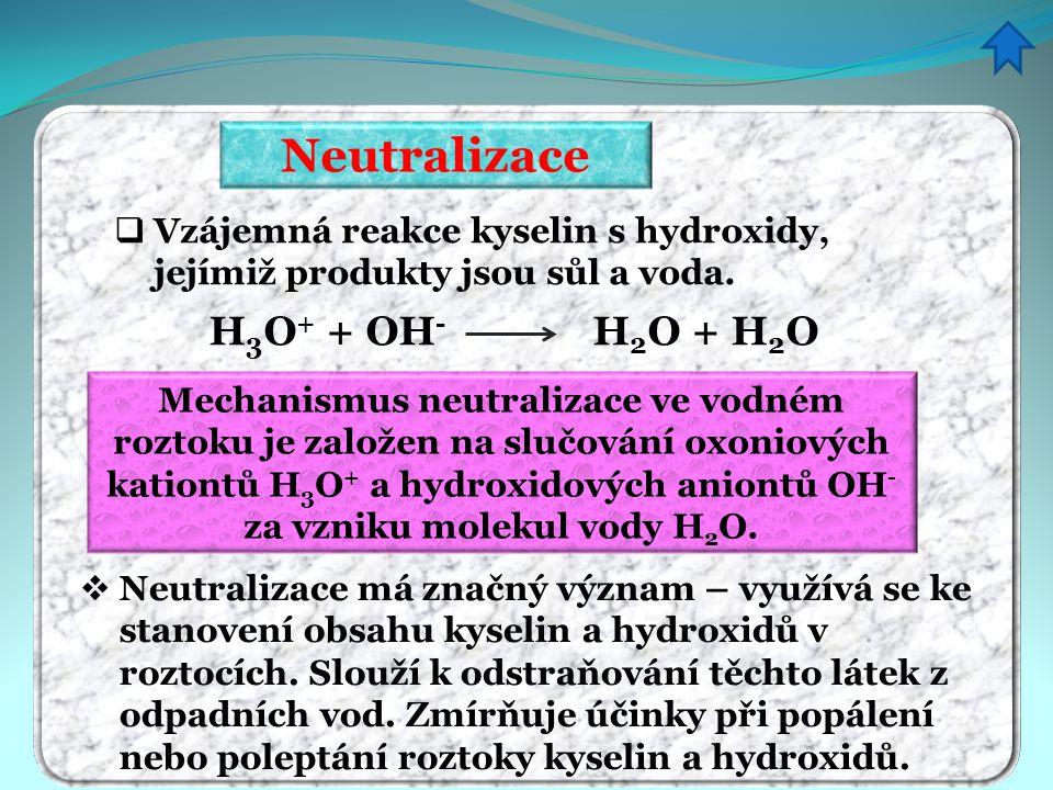Neutralizace  Vzájemná reakce kyselin s hydroxidy, jejímiž produkty jsou sůl a voda. H 3 O + + OH - H 2 O + H 2 O Mechanismus neutralizace ve vodném