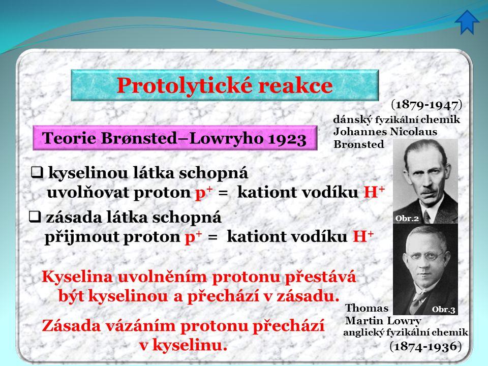 Protolytické reakce Teorie Brønsted–Lowryho 1923  kyselinou látka schopná uvolňovat proton p + = kationt vodíku H +  zásada látka schopná přijmout p