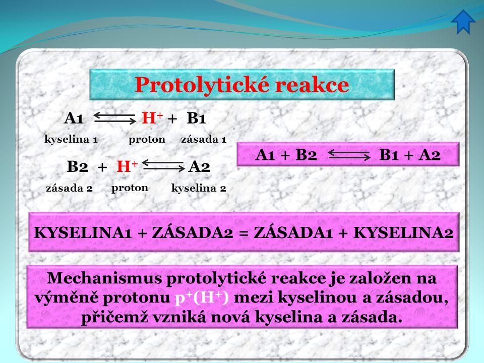 Protolytické reakce KYSELINA1 + ZÁSADA2 = ZÁSADA1 + KYSELINA2 A1 + B2 B1 + A2 A1 H + + B1 kyselina 1protonzásada 1 B2 + H + A2 kyselina 2 proton zásad