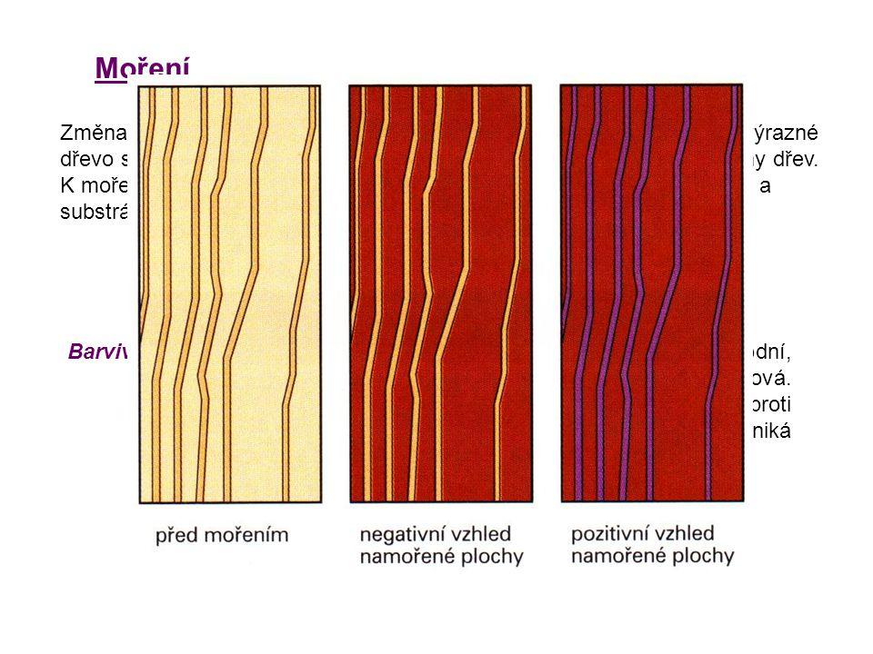 Moření Změna přirozené barvy dřeva barvícími kapalinami nebo parami.