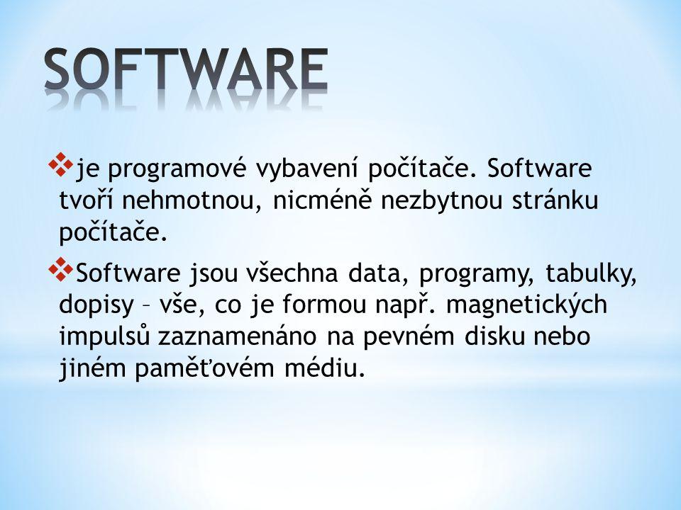  je programové vybavení počítače. Software tvoří nehmotnou, nicméně nezbytnou stránku počítače.