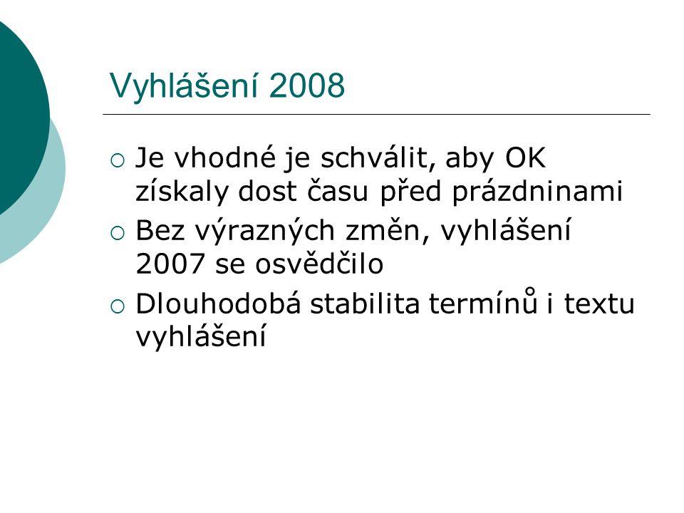 Vyhlášení 2008  Je vhodné je schválit, aby OK získaly dost času před prázdninami  Bez výrazných změn, vyhlášení 2007 se osvědčilo  Dlouhodobá stabilita termínů i textu vyhlášení
