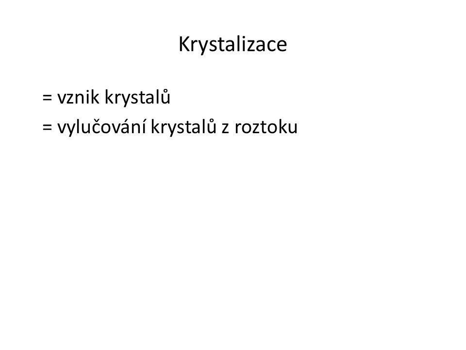 Krystalizace = vznik krystalů = vylučování krystalů z roztoku