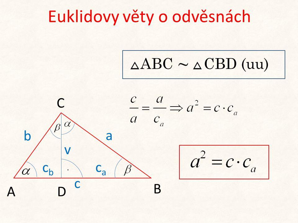Euklidovy věty o odvěsnách b cbcb A C B a caca v D. c ABC CBD (uu)