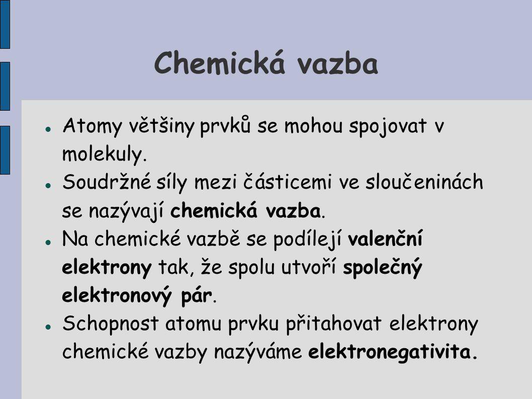 Chemická vazba Atomy většiny prvků se mohou spojovat v molekuly. Soudržné síly mezi částicemi ve sloučeninách se nazývají chemická vazba. Na chemické
