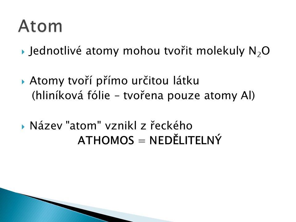  Jednotlivé atomy mohou tvořit molekuly N 2 O  Atomy tvoří přímo určitou látku (hliníková fólie – tvořena pouze atomy Al)  Název