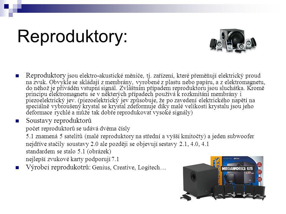 Reproduktory: Reproduktory jsou elektro-akustické měniče, tj.