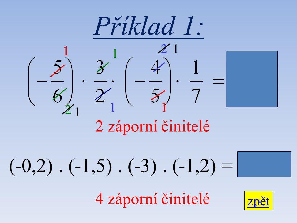 Příklad 1: 2 záporní činitelé zpět 1 2 1 2 (-0,2). (-1,5). (-3). (-1,2) = + 1,08 1 1 1 1 4 záporní činitelé