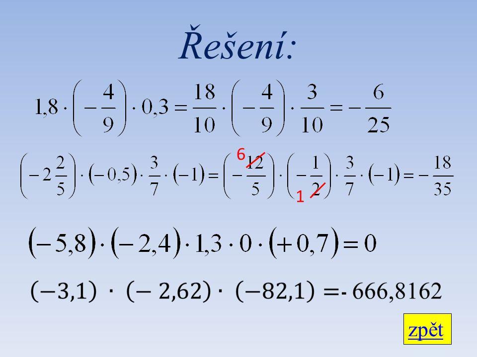 Řešení: zpět 6 1 -