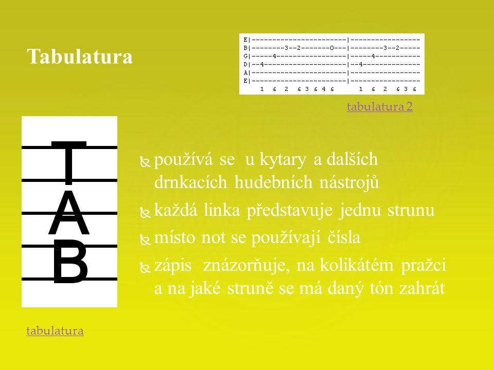   používá se u kytary a dalších drnkacích hudebních nástrojů   každá linka představuje jednu strunu   místo not se používají čísla   zápis znázorňuje, na kolikátém pražci a na jaké struně se má daný tón zahrát Tabulatura tabulatura tabulatura 2