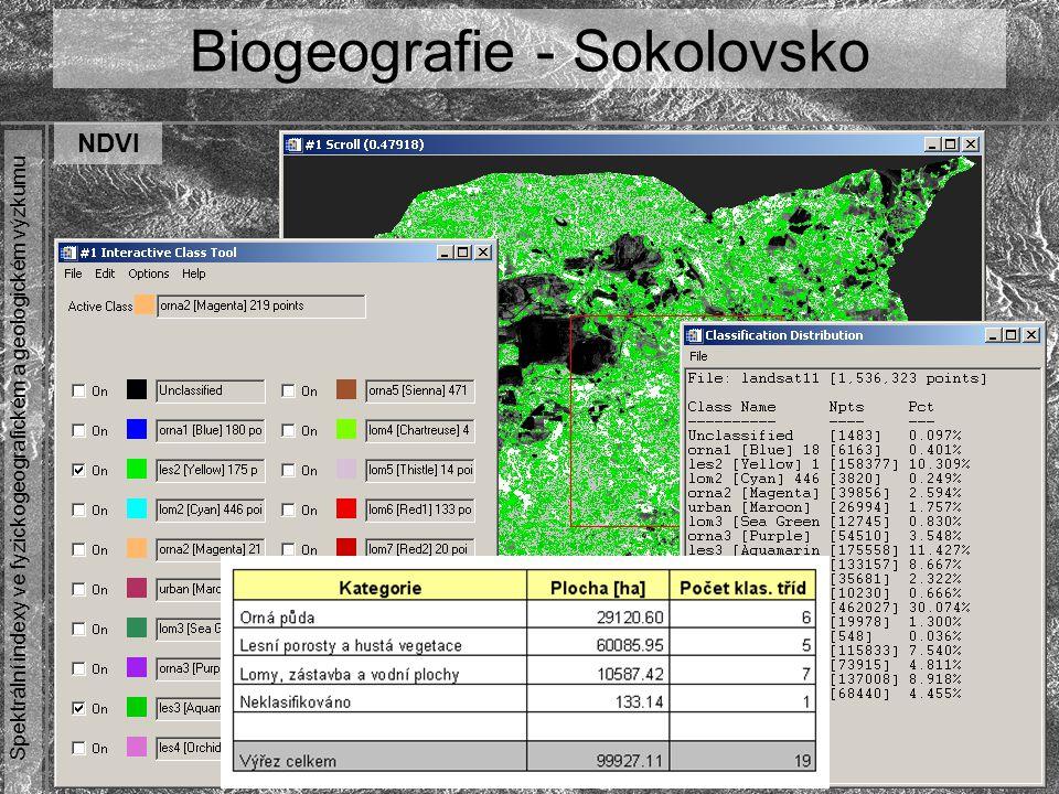 Spektrální indexy ve fyzickogeografickém a geologickém výzkumu Biogeografie - Sokolovsko NDVI