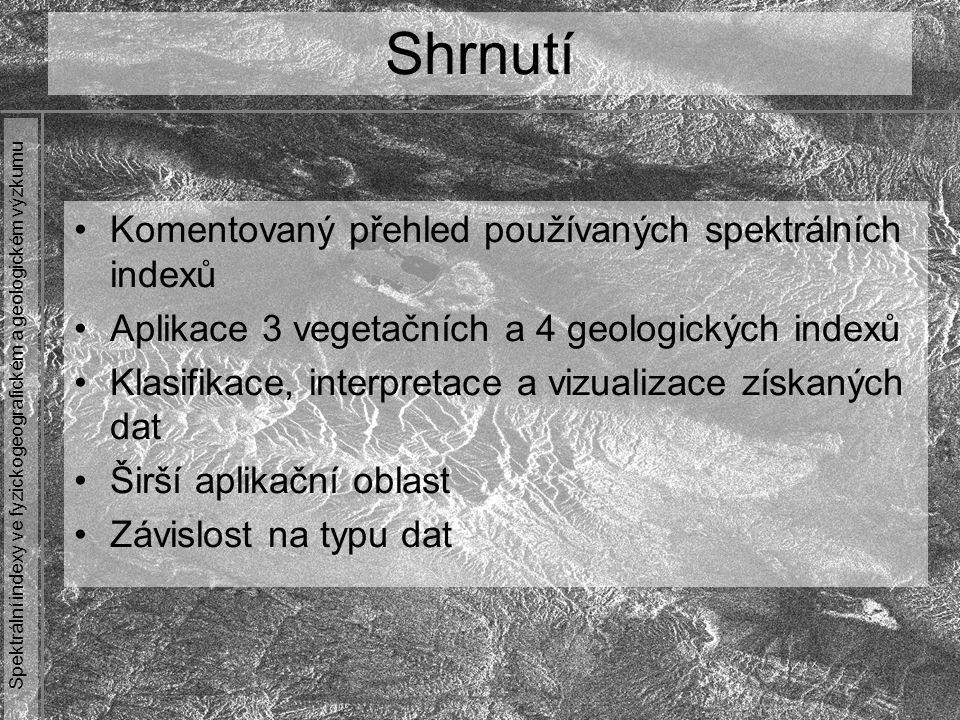 Spektrální indexy ve fyzickogeografickém a geologickém výzkumu Komentovaný přehled používaných spektrálních indexů Aplikace 3 vegetačních a 4 geologic